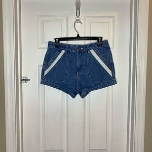 Free People High Rise Jean Shorts with Lac…